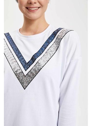 DeFacto Şeritli Uzun Kollu Tunik Beyaz